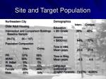 site and target population