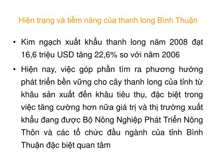 Hiện trạng và tiềm năng của thanh long Bình Thuận