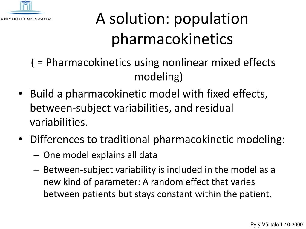 PPT - Nonlinear mixed effects models in pharmacokinetic modeling
