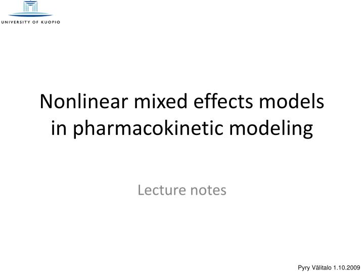 nonlinear mixed effects models in pharmacokinetic modeling n.