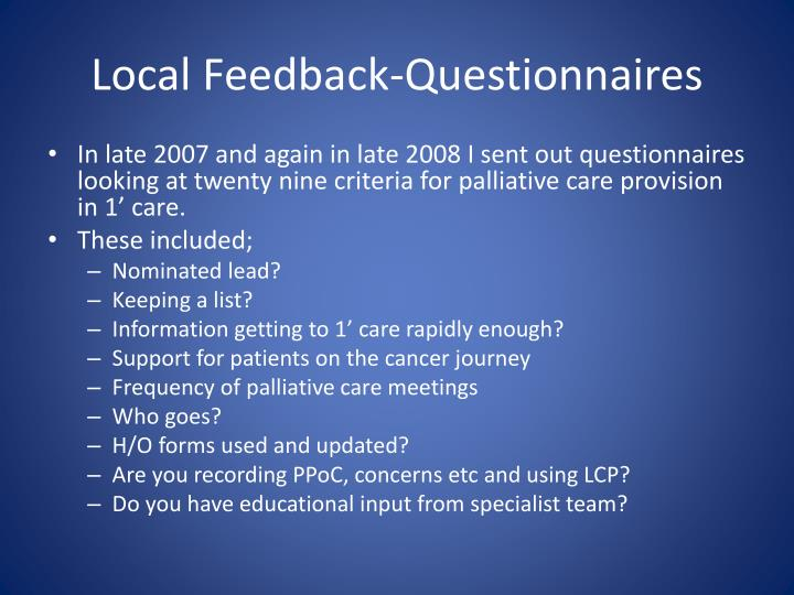 Local feedback questionnaires