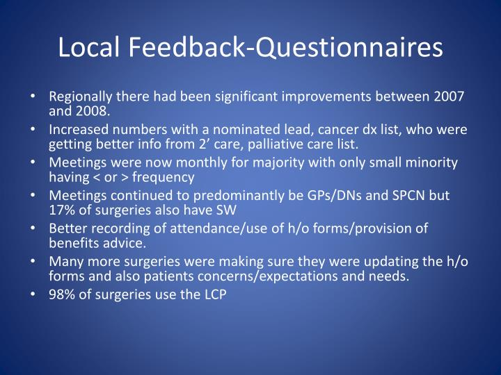Local Feedback-Questionnaires