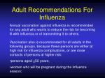 adult recommendations for influenza
