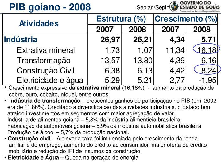 PIB goiano - 2008