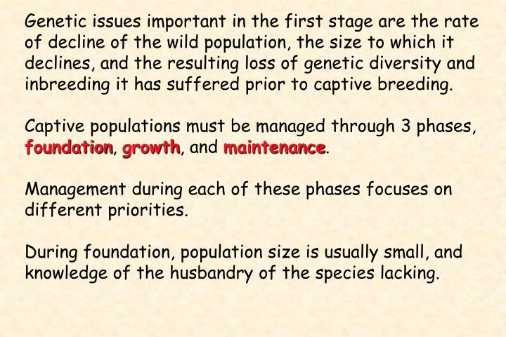 Genetic issues important in the first stage are the rate