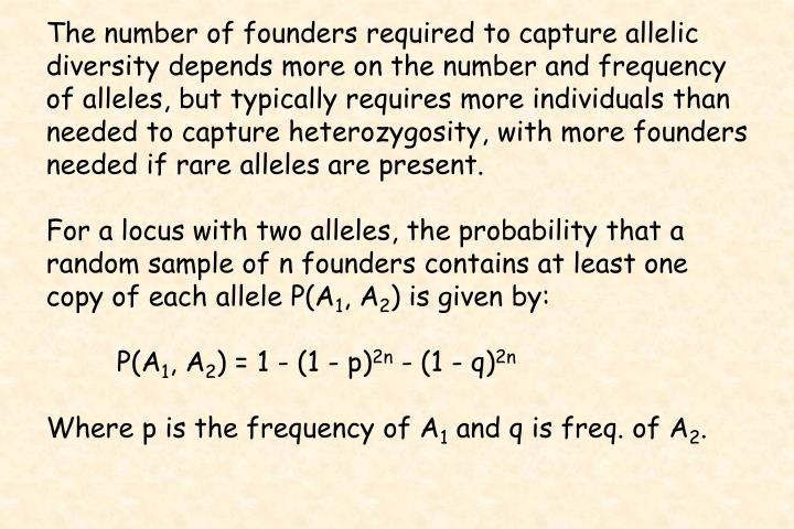 The number of founders required to capture allelic