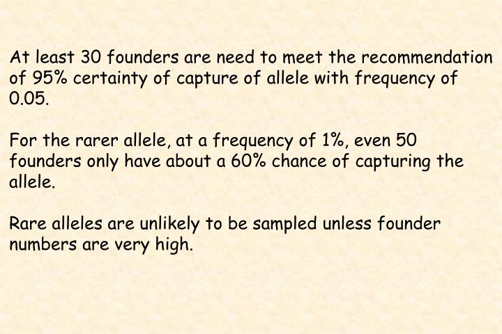 At least 30 founders are need to meet the recommendation