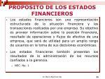 proposito de los estados financieros