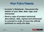 poor folk s patents