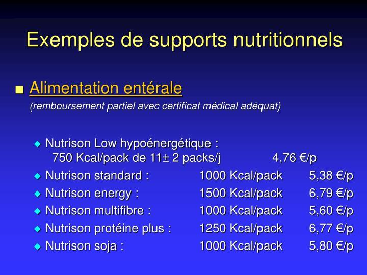 Exemples de supports nutritionnels