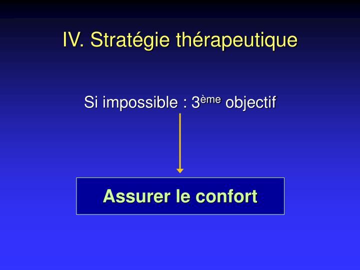 IV. Stratégie thérapeutique