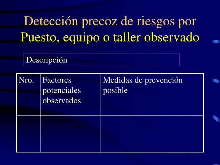 Detección precoz de riesgos por