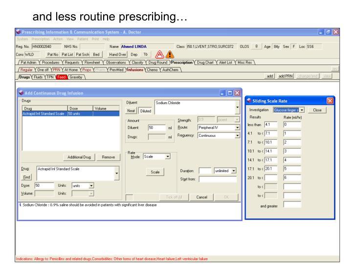 and less routine prescribing…