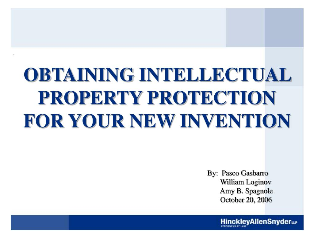 obtaining intellectual property protection for your new invention l.