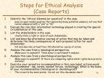 steps for ethical analysis case reports