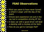 fsae observations