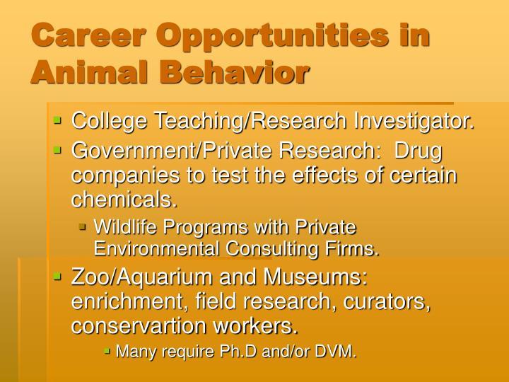 Career Opportunities in Animal Behavior