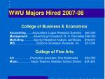 wwu majors hired 2007 08
