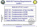 bus ce training requirements level i