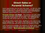 direct sales or pyramid scheme