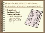 graduate professional school entrance examinations testing moving to library