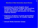education of next generation about dharma