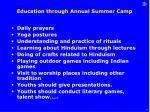 education through annual summer camp