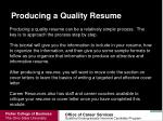 producing a quality resume