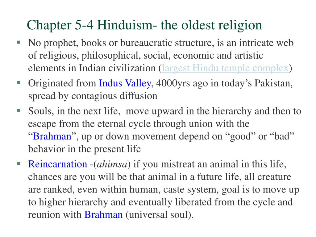 chapter 5 4 hinduism the oldest religion l.