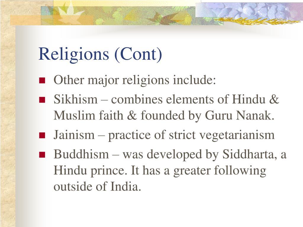 Religions (Cont)