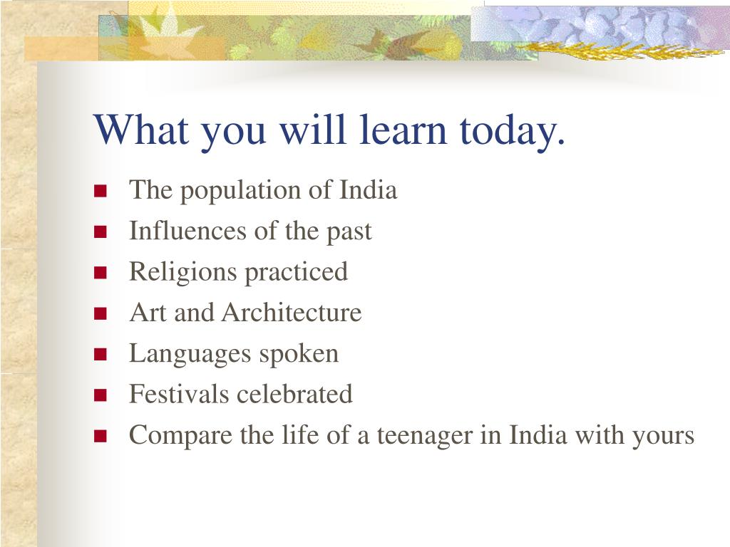 What you will learn today.