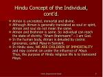 hindu concept of the individual cont d