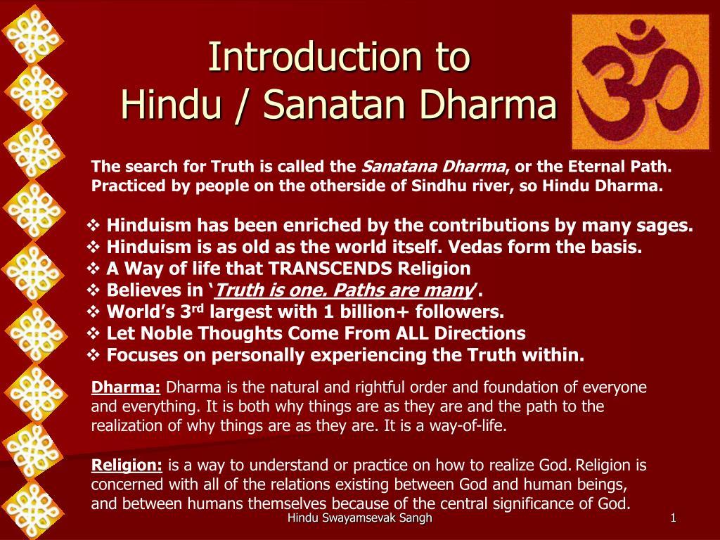 introduction to hindu sanatan dharma l.