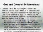 god and creation differentiated