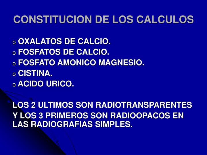 CONSTITUCION DE LOS CALCULOS