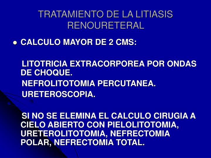 TRATAMIENTO DE LA LITIASIS RENOURETERAL