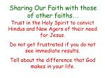sharing our faith with those of other faiths43