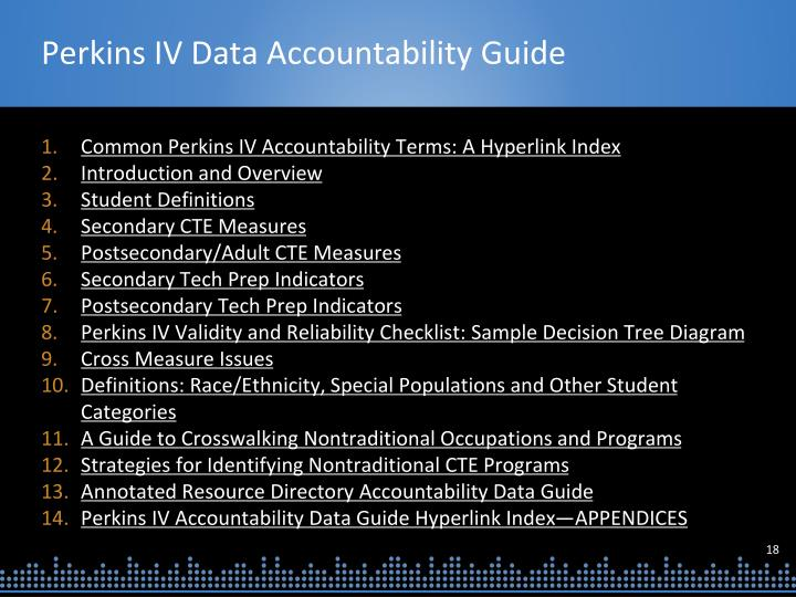 Perkins IV Data Accountability Guide