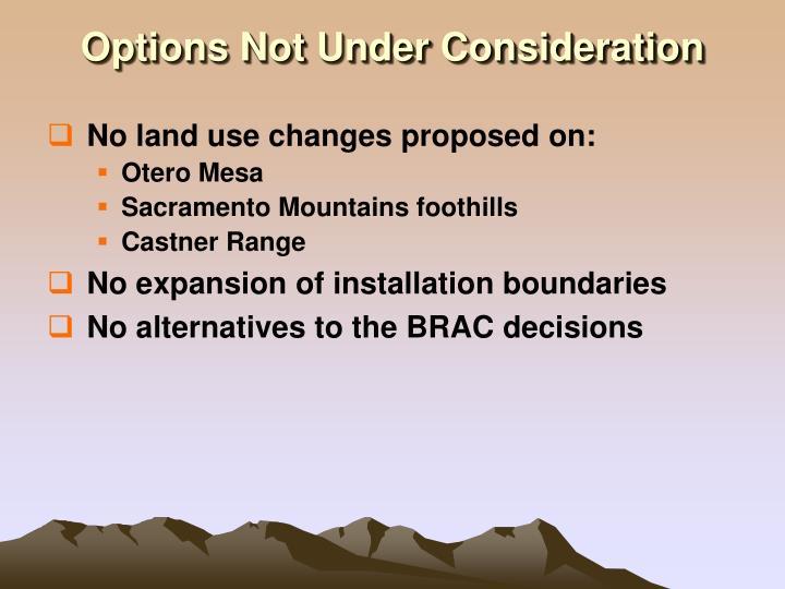 Options Not Under Consideration