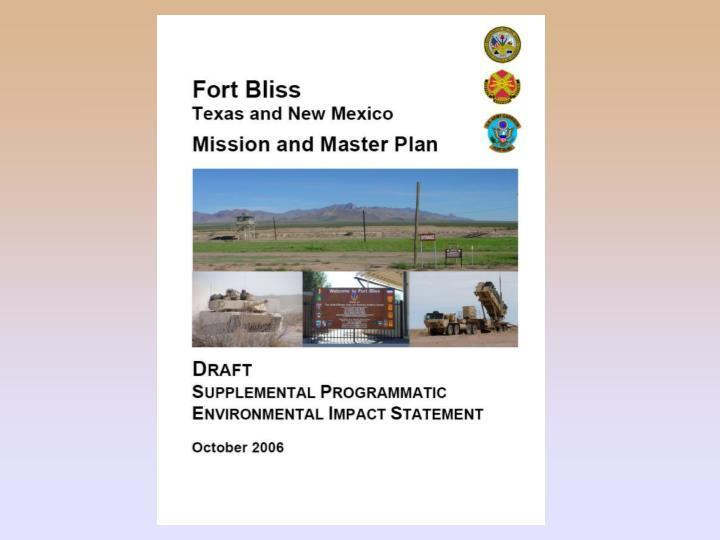 Fort bliss mission and master plan draft supplemental programmatic environmental impact statement seis