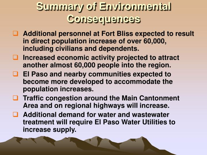 Summary of Environmental Consequences