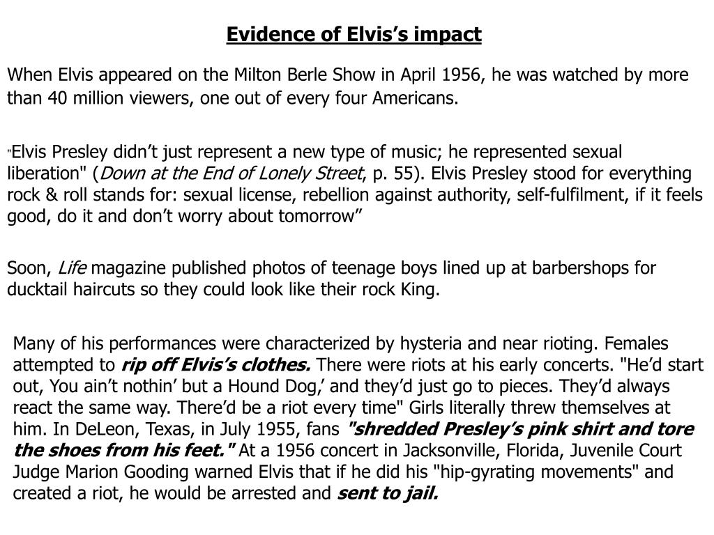 Evidence of Elvis's impact