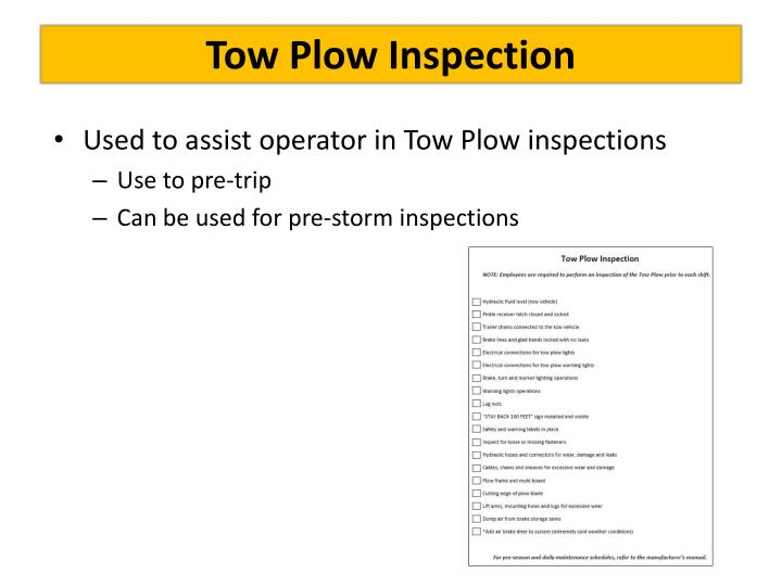 Tow Plow Inspection