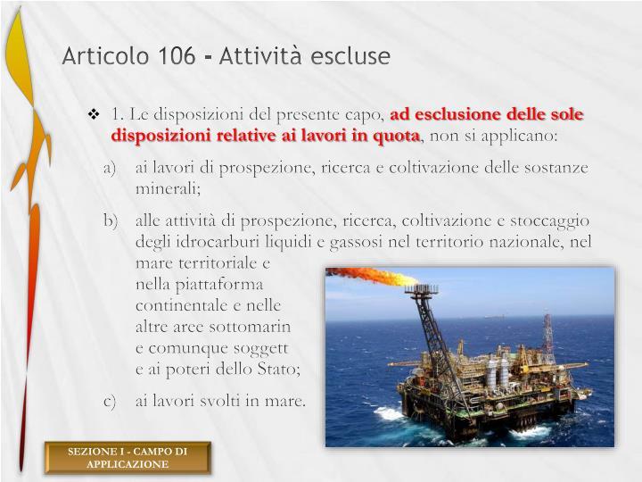 Articolo 106 - Attività escluse