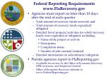 federal reporting requirements www flarecovery gov