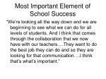 most important element of school success