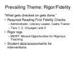 prevailing theme rigor fidelity
