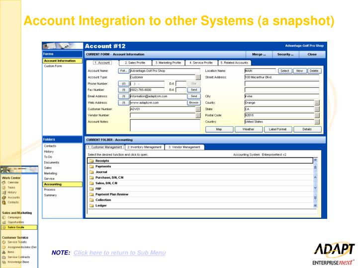 Account Integration to other Systems (a snapshot)