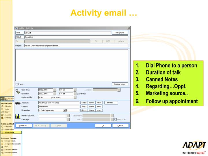 Activity email …