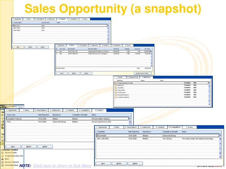 Sales Opportunity (a snapshot)
